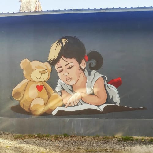 """Murals by Stefania Gallina - MAPU Lab seen at Private Residence - """"A bear without an eye"""" - commisioned mural"""