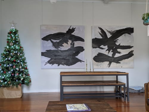Paintings by Emilie Heurtevent seen at Private Residence, Melbourne - Water #9 and #10