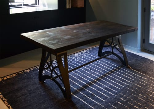Tables by Abodeacious seen at Private Residence, Chicago - Rustic industrial burnt wood table