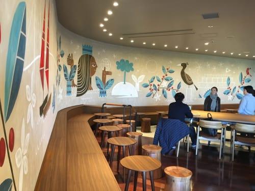 Murals by Jesse LeDoux seen at Starbucks Coffee Odaiba Aqua City Store, Minato-ku - Starbucks Odaiba Mural