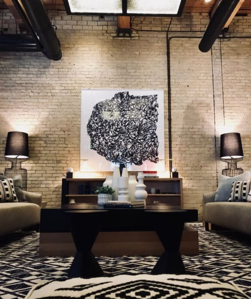 Art & Wall Decor by Gretchen Grace Dreisbach - Artist seen at Canopy by Hilton Minneapolis Mill District, Minneapolis - Print of 6 Foot Wall Line Drawing