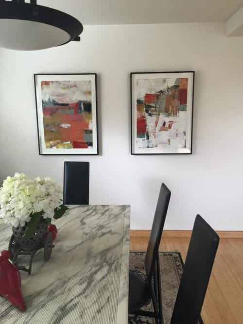 Paintings by Julie Schumer at Private Residence, San Jose - Framed Abstract Work on Paper