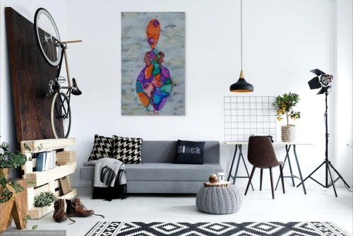 Paintings by Lili John seen at Private Residence, Totnes - Belonging - An African Woman - Digital Print size A3