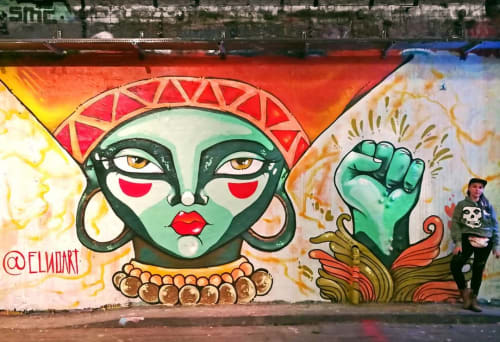 Street Murals by ELNO seen at Leake Street, London - Freedom Goddess Mural