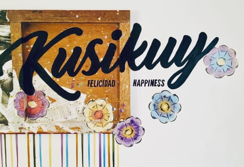Paintings by pepallama seen at Selina Cusco Saphi, Cusco - Kusikuy • Felicidad • Happiness