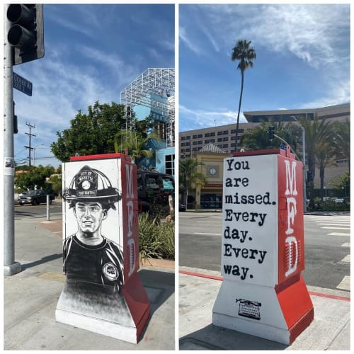 Street Murals by WRDSMTH seen at Venice, Los Angeles - Utility Box Mural