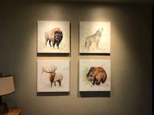 Paintings by Lisa Gleim Fine Art seen at Private Residence, Big Sky - Wildlife Montage