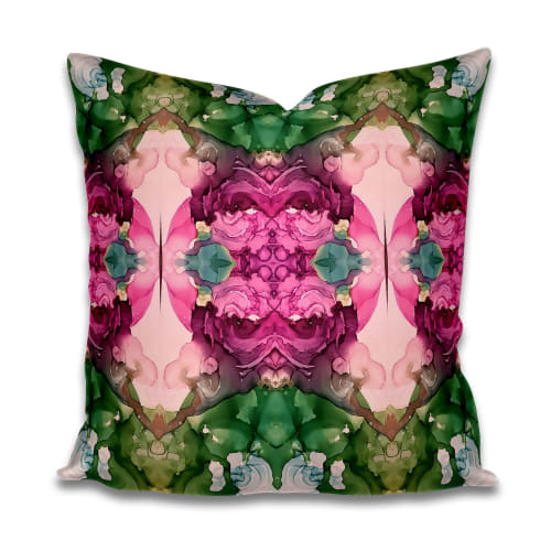 Pillows by Amanda M Moody seen at Private Residence, Boston - hummingbird euro pillow and textiles by the yard