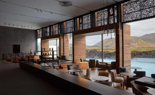 Interior Design by Ramos+Bassols seen at Private Residence, Grindavik - Warm lamp.  Blue Lagoon Hotel