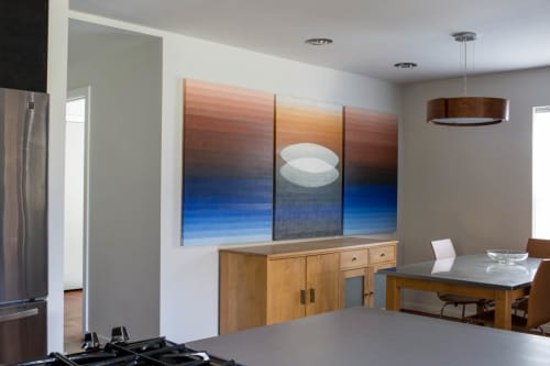 "Paintings by Stella Alesi at Private Residence, Austin - transformation"" triptych"