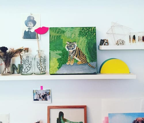 Paintings by Chloe Harrison seen at Private Residence, New York - Jungle Tiger - original painting, oil on canvas