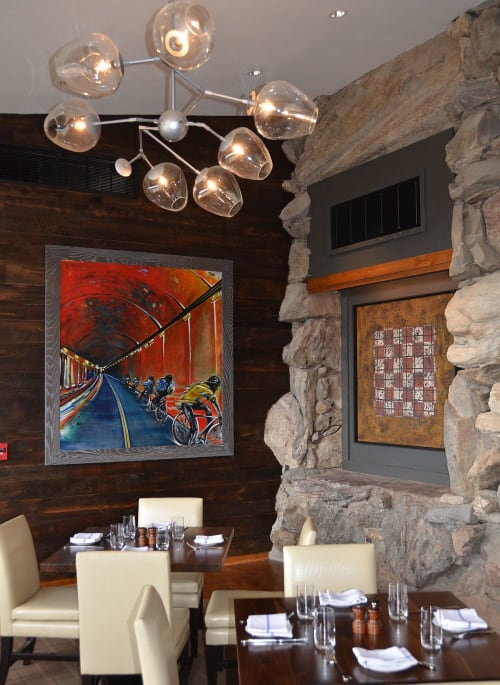 Paintings by Nancy Hilliard Joyce seen at The Omni Grove Park Inn, Asheville - Yellow Jersey