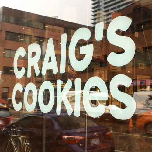 Signage by Christopher Rouleau seen at Craig's Cookies, Toronto - Sign Painting