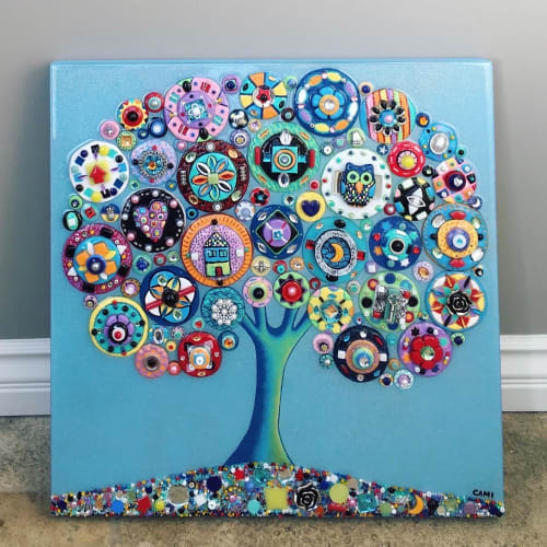"""Art & Wall Decor by Cami Levin seen at Private Residence - Tree of Love - """"Candy Kaleidoscope"""""""