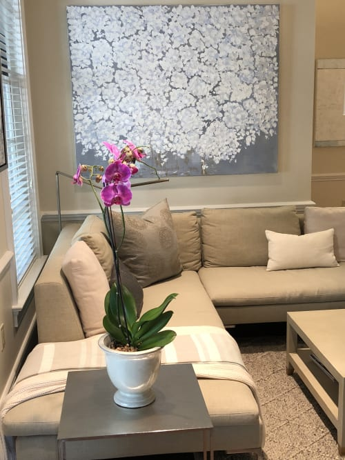Paintings by Kim Romero seen at Private Residence, Westport - Palest White Hydrangea 48x60