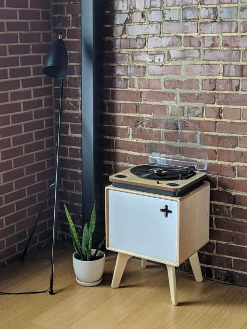 Furniture by Max Moody Design seen at Private Residence, Chattanooga - Boop Box Plus in Maple / Record Player Stand / Vinyl Storage