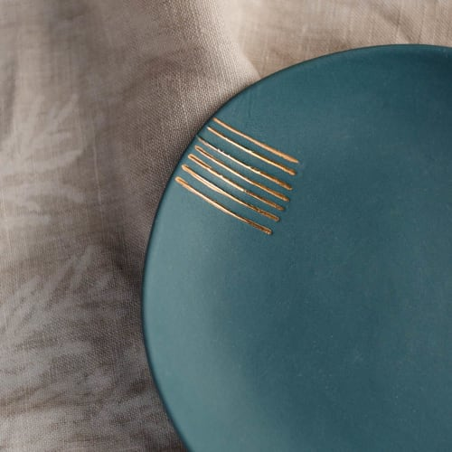 Ceramic Plates by Boya Porcelain seen at Creator's Studio, Beograd - Petra, unglazed saucer with gold