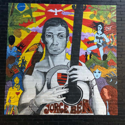 Street Murals by Josh Scheuerman seen at Randy's Records, Salt Lake City - Jorge Ben