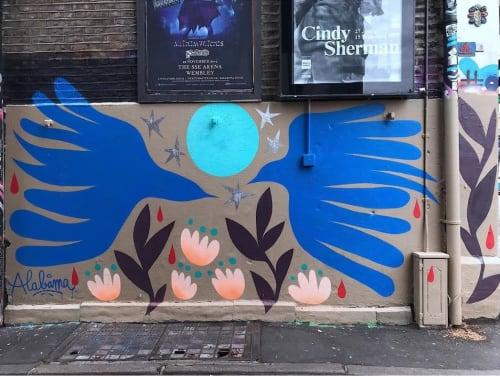Street Murals by Alabama Creative seen at Camden Town, London - Les messagers