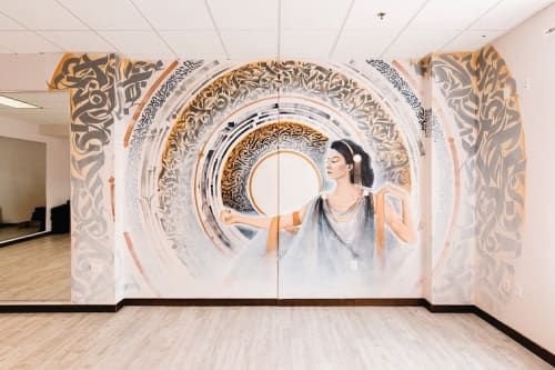 Murals by Leo Shallat seen at Grit City Wellness, Tacoma - Quan Yin - The Goddess of Compassion