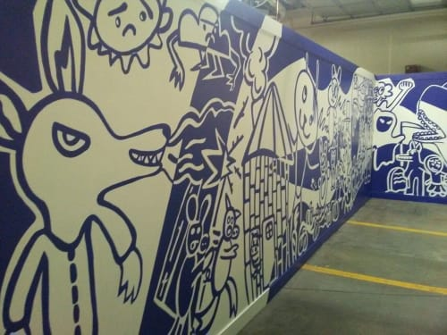 Murals by Roger Whiting seen at Sprague Firehouse Express, Salt Lake City - Collaborative Youth Mural
