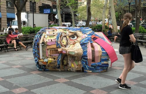 Public Sculptures by Nicolas Holiber seen at Tribeca Park, New York - Head of Goliath