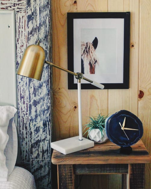 "Art & Wall Decor by Mod North + Co seen at Angie May's ""Our Happy Cabin"", Phoenix - Agate Desk Clock"