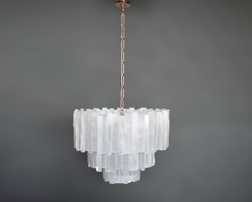 Chandeliers by Ron Dier Design seen at Private Residence - 3 Tier Selenite Chandelier