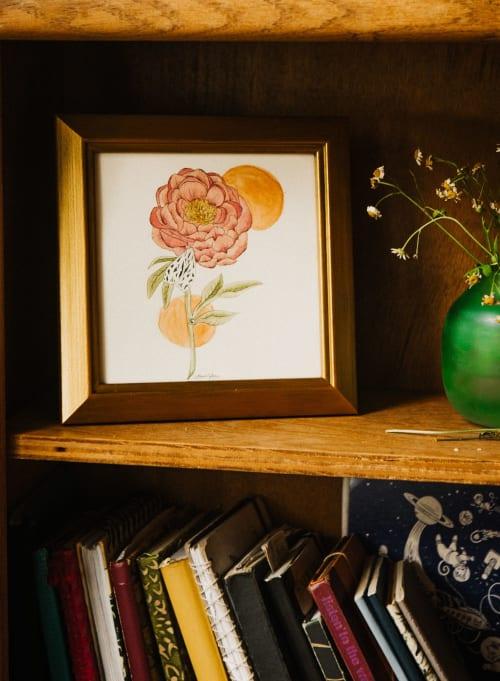 Lace Moth & Peony | Paintings by Jillian Selene Art