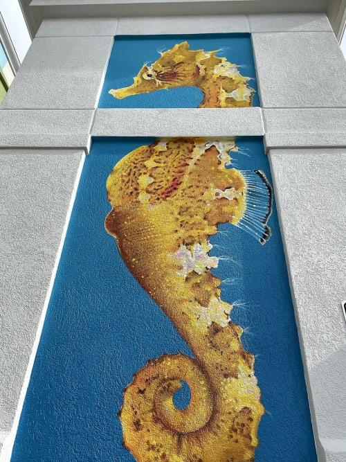 Striped Seahorse Mural | Murals by Daniela de Castro Sucre | Holiday Inn Express Orange Beach-on the Beach, an IHG Hotel in Orange Beach