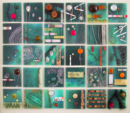 Sculptures by Marcia Stuermer/Stuermer Studios seen at Chase Bank, San Francisco - Nature + Technology: A Topographic Dialogue