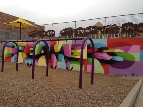 Murals by Dean Zeus Colman seen at Cowell Elementary School, Denver - Dreamers Mural