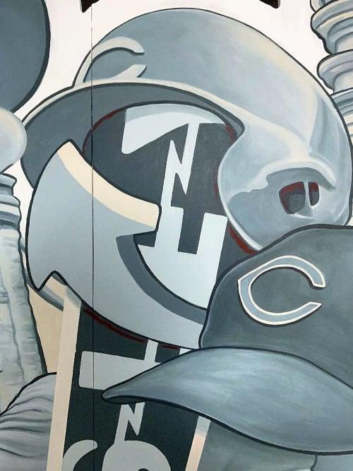 Murals by Christian Dallas Art seen at Great American Ball Park, Cincinnati - The Cincinnati Machine