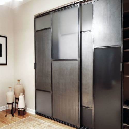 Furniture by Michael Daniel Metal Design seen at Private Residence, New York - Custom Sliding Doors and Panels