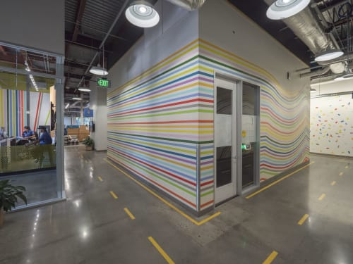 Murals by Leah Rosenberg seen at MPK 12, facebook hq building, Menlo Park - Gather and Break