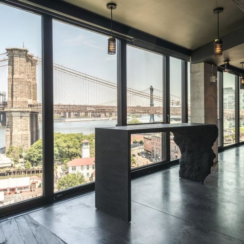 Tables by Fernando Mastrangelo seen at 1 Hotel Brooklyn Bridge, Brooklyn - Custom-made Black Silica Table