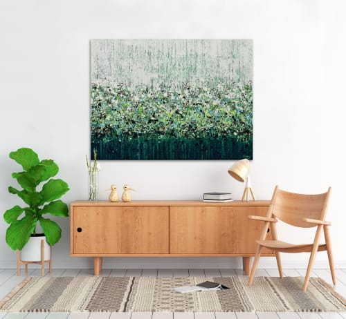 Paintings by Lisa Carney seen at Creator's Studio, Sainte-Anne-des-Plaines - Greener Grass, abstract floral landscape