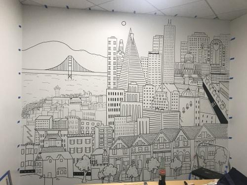 Murals by Lady Henze Art seen at Randall Lamb Associates, San Francisco - Randall Lamb & Associates Two Room Mural