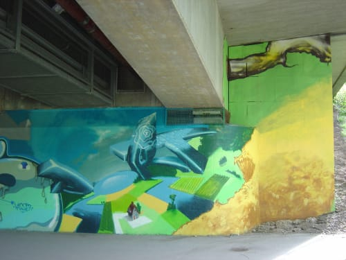 Murals by Loomit seen at Motel One, München - Green City