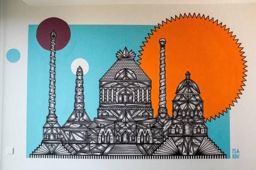 Murals by Isakov seen at Dammtorwall 19, Hamburg - Hotel Room Mural