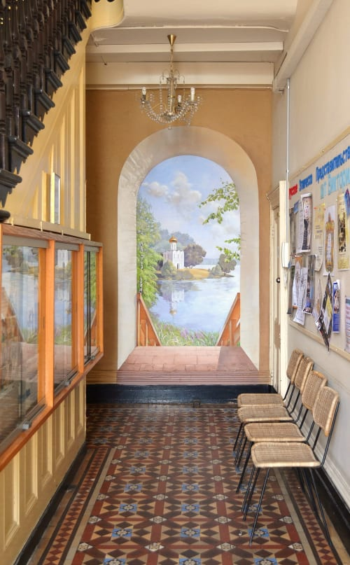 Murals by Elena Kolotusha seen at 118 Greeves St, Fitzroy - Russian landscape Mural at the Russian Representative House