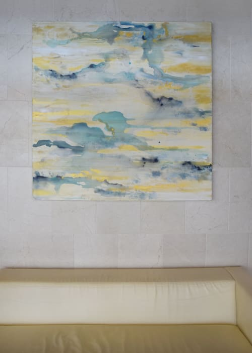 Paintings by Jennifer Hayes seen at Spa and Salon at Four Seasons Hotel St. Louis, St. Louis - Satin Sea