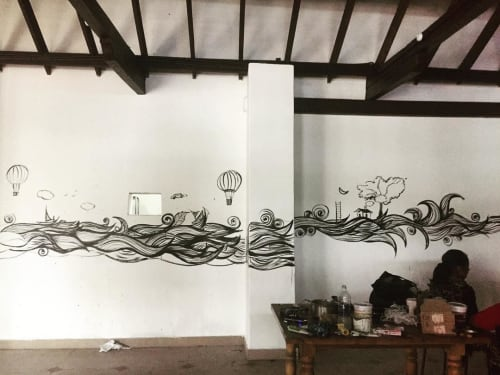 Murals by Fathima Hakkim seen at Lunch Box (biriyani kadda), Kollam - Black and white Mural