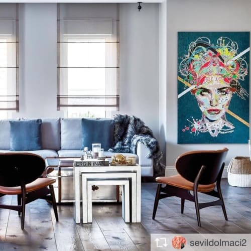 Paintings by Alea Pinar Du Pre seen at Private Residence, Istanbul - Stella & Luma & Ina