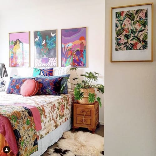 Paintings by Karen Brotherton seen at Private Residence - Botanical Forest Scene Print