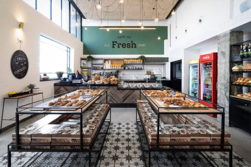 "Interior Design by Mali Lisha Edri designer seen at Happiness Bread Bakery, Rishon LeTsiyon - ""Happiness Bread Bakery"" Project"