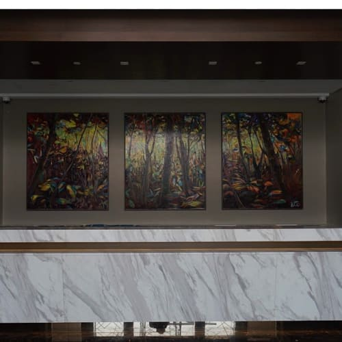 Paintings by Gabriel Pitcher seen at Olive Tree Hotel Penang, Bayan Lepas - Forest