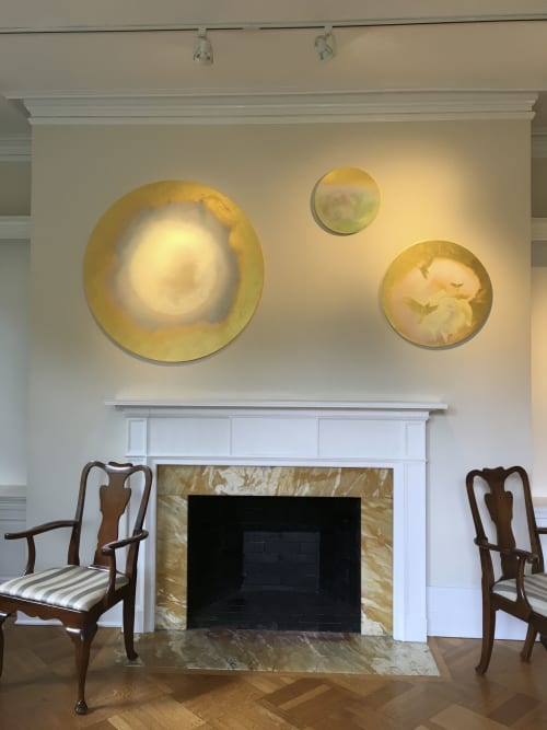 Paintings by FitzgeraldArt seen at 165 Hobart Ave, Summit - Shy Moon; A Rose in the Ocean; Annunciation