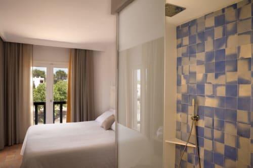 Tiles by Huguet Mallorca seen at Paraíso De Los Pinos, San Francisco Javier, Formentera - Tiles and Bespoke Terrazzo Washbasins