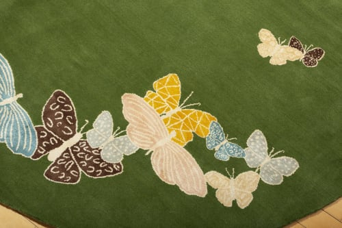 Rugs by Sergio Mannino Studio - Spirit in the Sky rug. Butterflies on green background